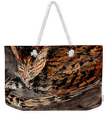 Red Spot Tabby Weekender Tote Bag by Nancy Kane Chapman