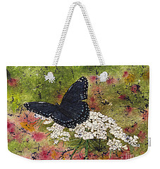 Red Spotted Purple Butterfly Queen Annes Lace Batik Weekender Tote Bag