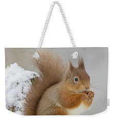Red Squirrel In The Snow Side On Weekender Tote Bag