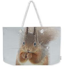 Red Squirrel With Snowflakes Weekender Tote Bag