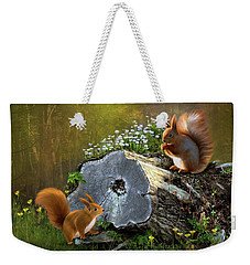 Weekender Tote Bag featuring the digital art Red Squirrels by Thanh Thuy Nguyen