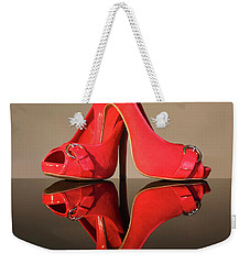 Weekender Tote Bag featuring the photograph Red Stiletto Shoes by Terri Waters