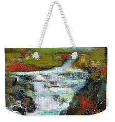 Weekender Tote Bag featuring the painting Yellow Fields With Red Sumac by Frances Marino