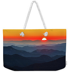Red Sun In The End Of Mountain Range Weekender Tote Bag