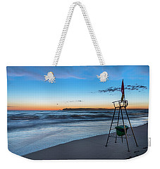 Weekender Tote Bag featuring the photograph Red Sun In The Sunset Beach - Spiaggia Al Tramonto by Enrico Pelos