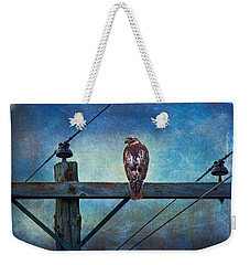 Red-tailed Hawk On Power Pole Weekender Tote Bag