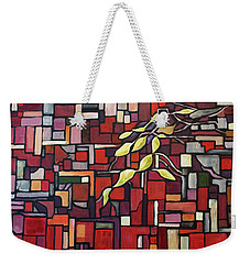 Weekender Tote Bag featuring the painting Red Tango by Joanne Smoley