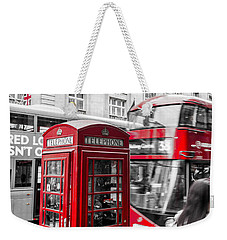 Red Telephone Box With Red Bus In London Weekender Tote Bag