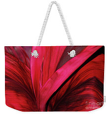 Weekender Tote Bag featuring the photograph Red Ti Leaf Plant - Hawaii by D Davila