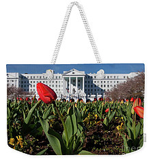Red Tulip At The Greenbrier Weekender Tote Bag by Laurinda Bowling