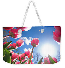 Red Tulips Against Blue Sky Weekender Tote Bag