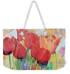 Watercolor Of Blooming Red Tulips In Spring Weekender Tote Bag