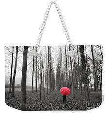 Red Umbrella In An Allee Weekender Tote Bag