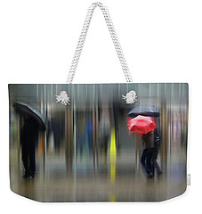 Weekender Tote Bag featuring the photograph Red Umbrella by LemonArt Photography