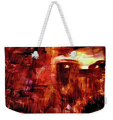 Weekender Tote Bag featuring the photograph Red Veil by Linda Sannuti