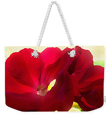 Weekender Tote Bag featuring the digital art Red Velvet Twin Geraniums  by Shelli Fitzpatrick