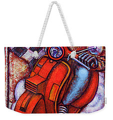 Red Vespa Weekender Tote Bag