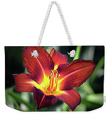 Weekender Tote Bag featuring the photograph Red Volunteer. by Terence Davis