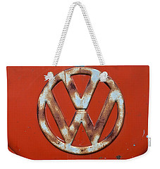 Weekender Tote Bag featuring the photograph Red Vw Bus Emblem by Jani Freimann