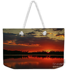 Red Water Sunset Weekender Tote Bag