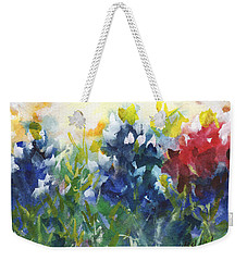 Red White And Bluebonnets Watercolor Painting By Kmcelwaine Weekender Tote Bag by Kathleen McElwaine