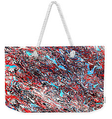 Weekender Tote Bag featuring the painting Red White Blue And Black Drip Abstract by Genevieve Esson