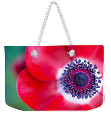 Red White Blue Anemone Weekender Tote Bag by Rebecca Cozart