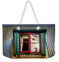Weekender Tote Bag featuring the photograph Red Windows by Perry Webster