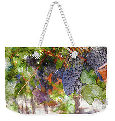 Red Wine Grapes On The Vine In Wine Country Weekender Tote Bag