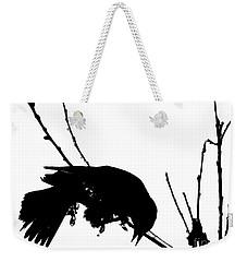 Red Wing Black Bird Silhouette Weekender Tote Bag