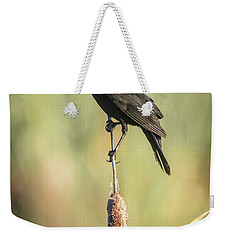 Weekender Tote Bag featuring the photograph Red-wing On Cattail by Robert Frederick