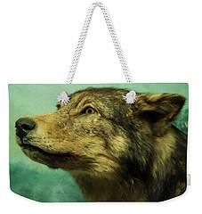 Weekender Tote Bag featuring the digital art Red Wolf Digital Art by Chris Flees