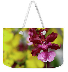 Weekender Tote Bag featuring the photograph Maroon And Yellow Orchid by Melinda Blackman