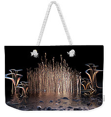 Weekender Tote Bag featuring the digital art Reeds On Fire by Melissa Messick