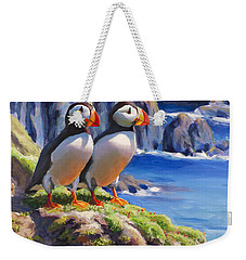 Weekender Tote Bag featuring the painting Reflecting - Horned Puffins - Coastal Alaska Landscape by Karen Whitworth