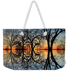 Weekender Tote Bag featuring the photograph Reflecting On Tonight by Chris Berry