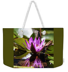 Weekender Tote Bag featuring the photograph Reflection In Fuchsia by Suzanne Gaff
