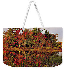 Weekender Tote Bag featuring the photograph Reflection Island by Kathleen Sartoris