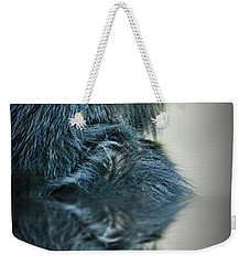 Weekender Tote Bag featuring the photograph Reflection Of A Francois Langur Monkey  by Jim Fitzpatrick