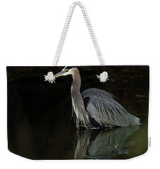 Weekender Tote Bag featuring the photograph Reflection Of A Heron by George Randy Bass