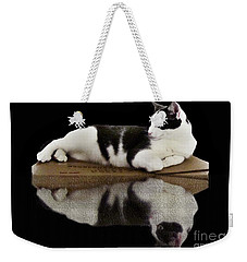 Reflection Of Black And White Cat Weekender Tote Bag by Janette Boyd