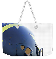 Reflection Of Goal Post In Wolverine Helmet Weekender Tote Bag