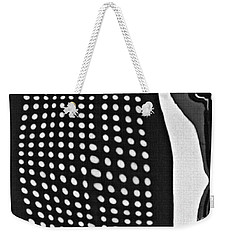 Weekender Tote Bag featuring the photograph Reflection On 42nd Street 1 Grayscale by Sarah Loft