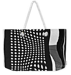 Weekender Tote Bag featuring the photograph Reflection On 42nd Street 2 Grayscale by Sarah Loft
