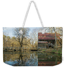Weekender Tote Bag featuring the photograph Reflection On A Grist Mill by George Randy Bass