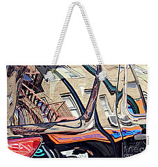 Weekender Tote Bag featuring the photograph Reflection On A Parked Car 18 by Sarah Loft