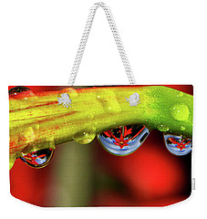 Reflections - Flowers In A Raindrop 001 Panorama Weekender Tote Bag