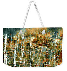 Weekender Tote Bag featuring the photograph Reflections In Teal by Ann Bridges