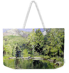 Weekender Tote Bag featuring the painting Reflections by Laurie Rohner