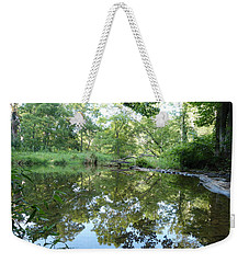 Reflections Of Beetree Run Weekender Tote Bag by Donald C Morgan
